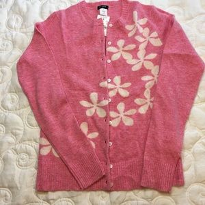 J Crew Cardigan XS Pink with White flowers